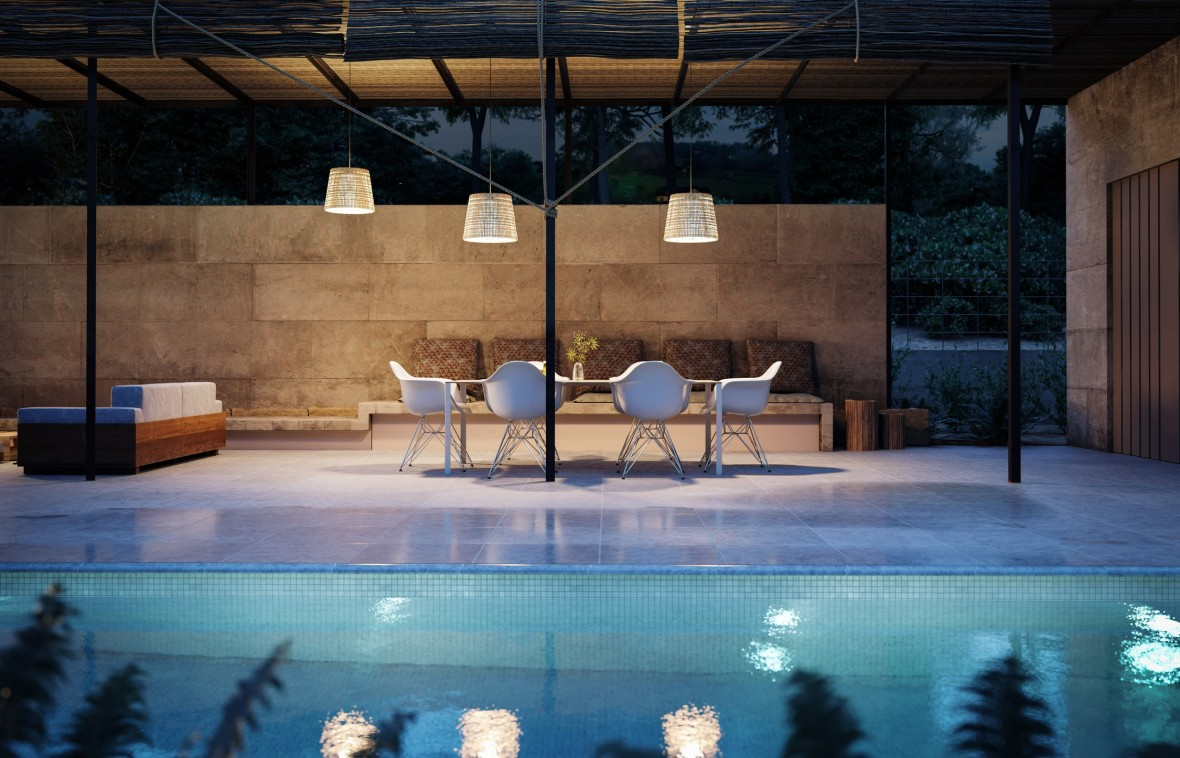 08 Exterior piscina mesas